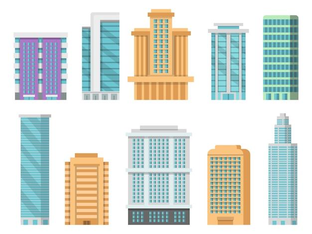 Flat verschillende moderne wolkenkrabbers en andere zakelijke gebouwen