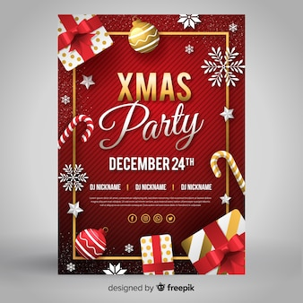 Flat verwaardigen kerstfeest folder sjabloon