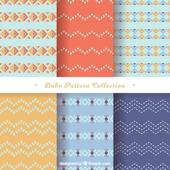 Flat verzameling van zes boho patronen