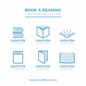 Flat verzameling van zes logo's met boeken