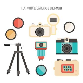 Flat vintage fotoapparatuur set