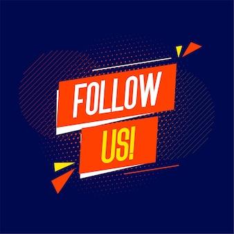 Flat volg ons banner voor post op sociale media