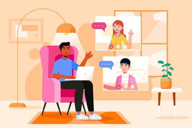 Flat vrienden videoconferentiescènes