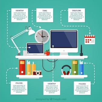 Flat werkplek infographic van het bedrijfsleven