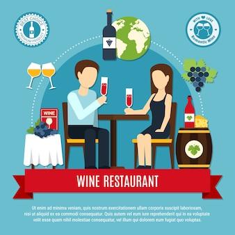 Flat wijn restaurant illustratie
