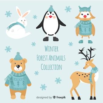 Flat winter bos dieren collectie