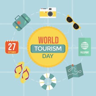 Flat world tourism day geïsoleerd