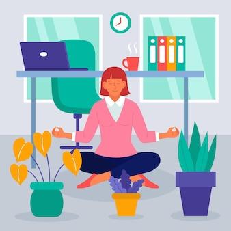 Flat zakenvrouw mediteren