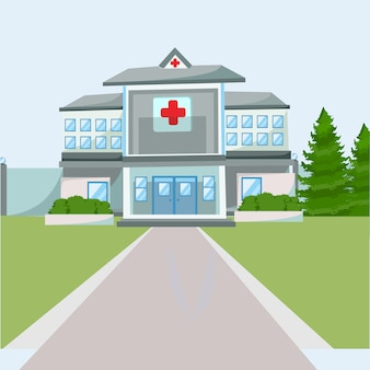 Flat ziekenhuis gebouw illustratie