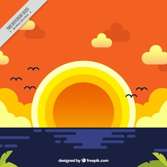 Flat zonsondergang op de achtergrond