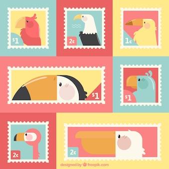 Flatpack gekleurde postzegels met vogels
