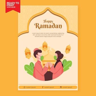 Flayer flat design ramadan kareem illustratie