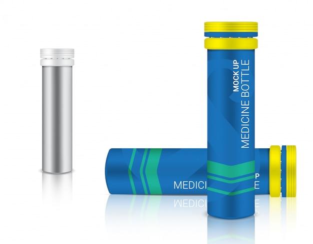 Fles 3d bespotten realistische geneesmiddelenverpakking voor calcium- en vitaminepillen