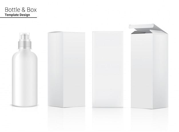 Fles 3d, realistische transparante plastic shaker met doos in vector voor water en drinken. fiets en sport conceptontwerp.