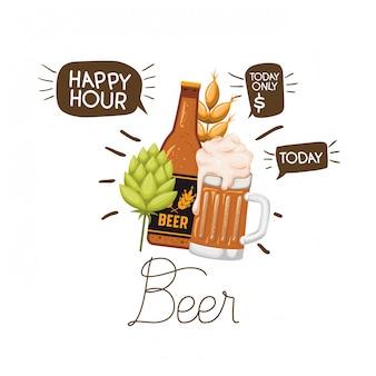 Fles bier en glas geïsoleerd pictogram