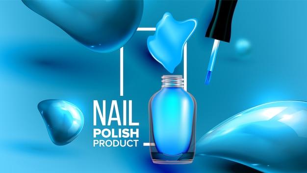 Fles blauwe nagellak product banner
