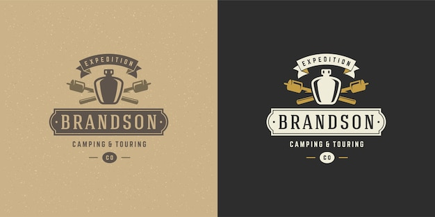 Fles camping logo embleem illustratie set
