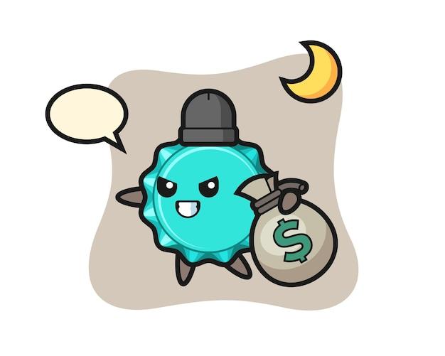 Fles cap cartoon is het geld gestolen