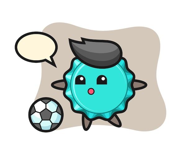 Fles cap cartoon speelt voetbal