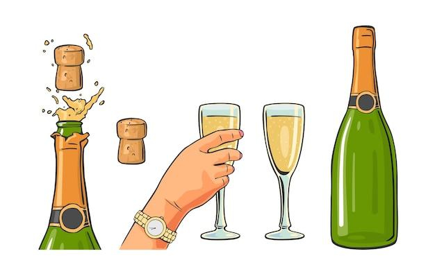 Fles champagne explosie en hand houden glas vector kleur plat pictogram