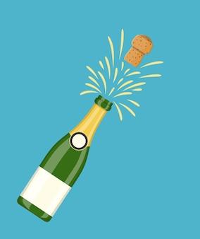 Fles champagne explosie