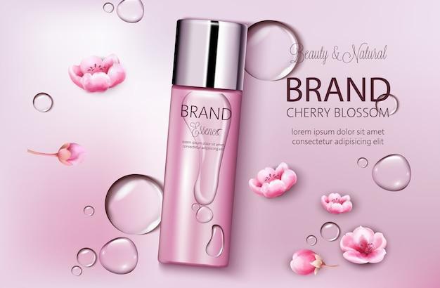 Fles cosmetica kersenbloesem. productplaatsing. natuurlijke schoonheid. plaats voor merk. water druppels achtergrond. realistische s