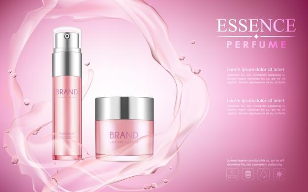 Fles cosmetische mock up op roze achtergrond met uw merk.