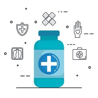 Fles drugs gezondheidszorg medische pictogrammen