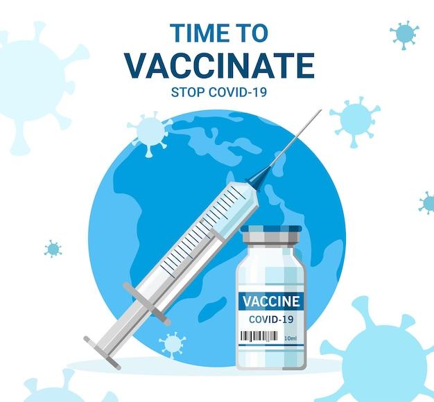 Fles en spuit met vaccininjectie van covid19 virus vectorillustratie tijd om te vaccineren