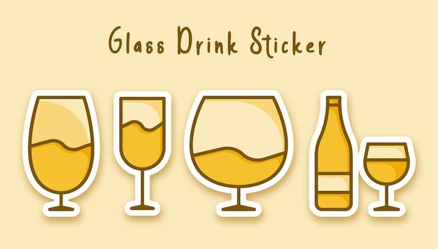 Fles glas wijn sticker