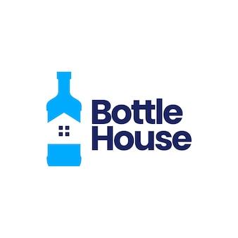 Fles huis huis logo geïsoleerd op wit