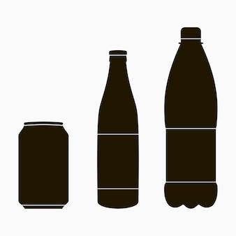 Fles iconen set - metalen blikje, glas en plastic. vector illustratie.
