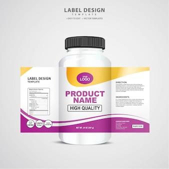 Fles label, pakket sjabloonontwerp, labelontwerp, mock up ontwerpsjabloon etiket