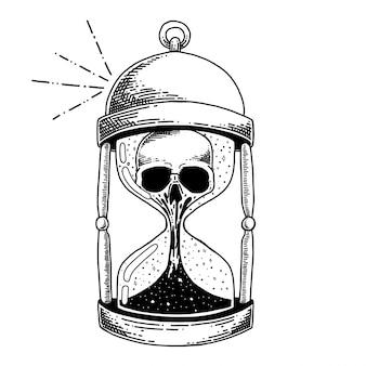 Fles met gezondheid drankje, vergif en schedel drankje hand getrokken illustratie