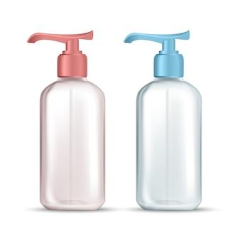 Fles met pomp voor hygiënische vloeibare zeep