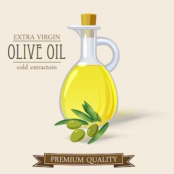 Fles olijfolie en tak cartoon, geïsoleerd