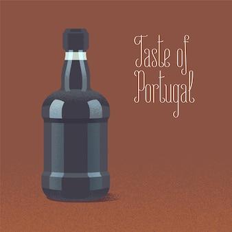 Fles porto wijn vectorillustratie
