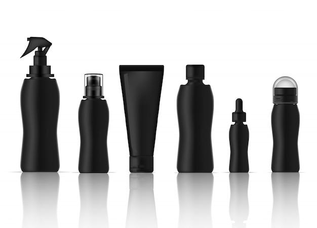 Fles realistische huidverzorgingsproductspray, deodorant, schuimzeep, druppelaar