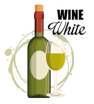 Fles rode wijn en bekerlabel