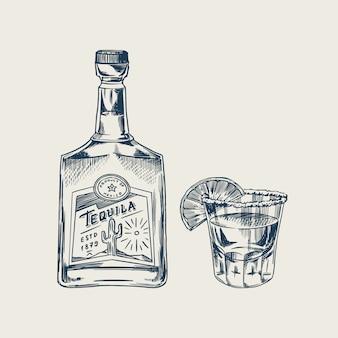 Fles tequila glas geschoten met limoen en label voor retro poster of banner. gegraveerde hand getekende vintage schets. houtsnede stijl. illustratie.