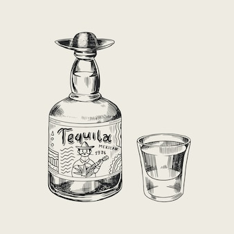 Fles tequila glas schot en label voor retro poster of banner. gegraveerde hand getekende vintage schets. houtsnede stijl. illustratie.