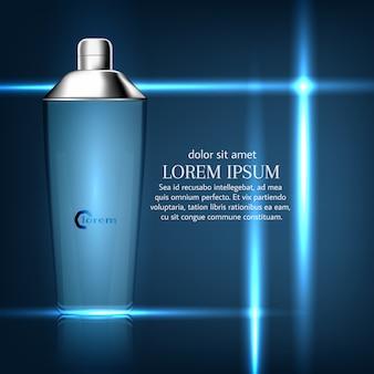 Fles tooncrème voor de huid. ontwerp van make-up op een blauwe achtergrond.