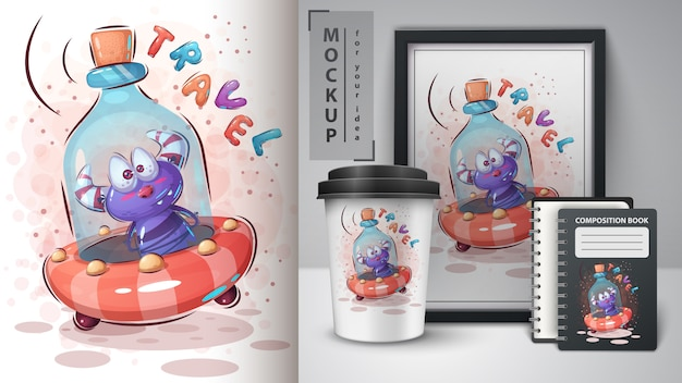 Fles ufo poster en merchandising