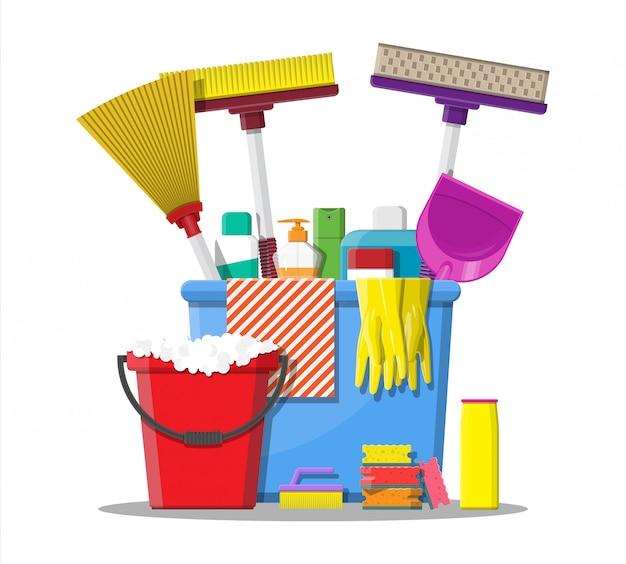 Fles wasmiddel spons zeep en rubberen handschoenen