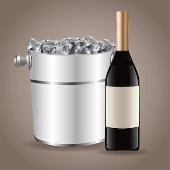 Fles wijn ijsemmer drinken
