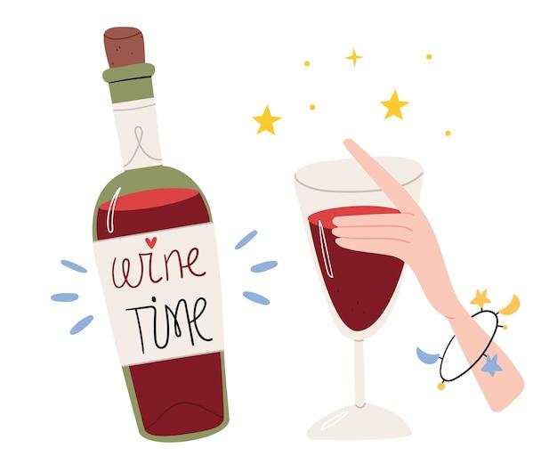 Fles wijn in cartoon-stijl.