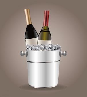 Fles wijn koeler ijs drinken