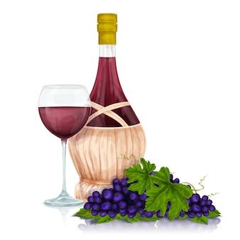 Fles wijn met een glas en druiven