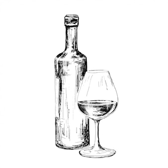 Fles wijn tekenen