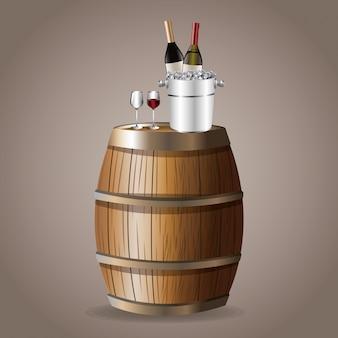 Fles wijn vat glaswerk ijsemmer